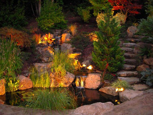 Ponds and waterfalls los angeles enviroscape la landscapin for Garden pond lights