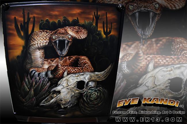 Desert snake custom painted airbrushed hood mural by eye for Airbrushed mural
