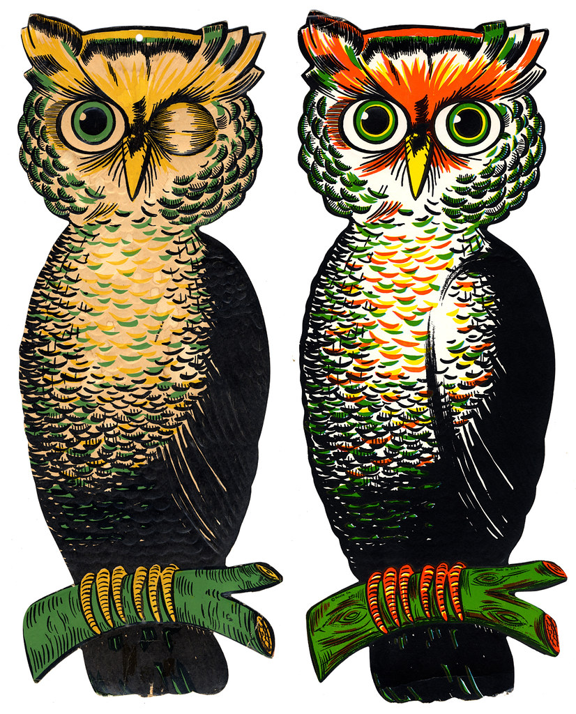 Vintage beistle halloween decorations -  Luhrs And Beistle Large Owls By Halloween_guy
