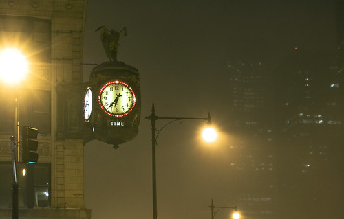East Wacker Drive Clock In Blizzard February 1st 2011 | by neopsychedelia