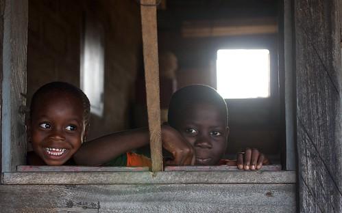 Ghana school boys smile.