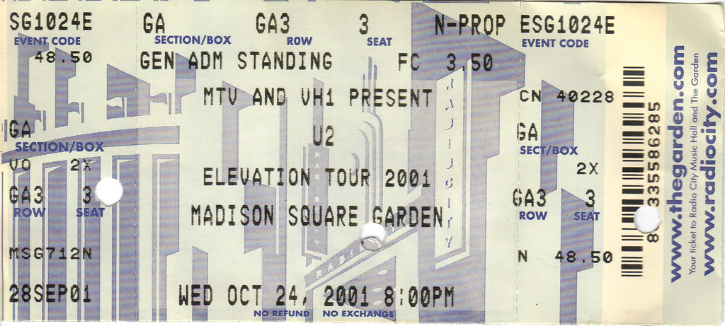 ... U2   2001 10 24   Ticket   Madison Square Garden | By Therossman