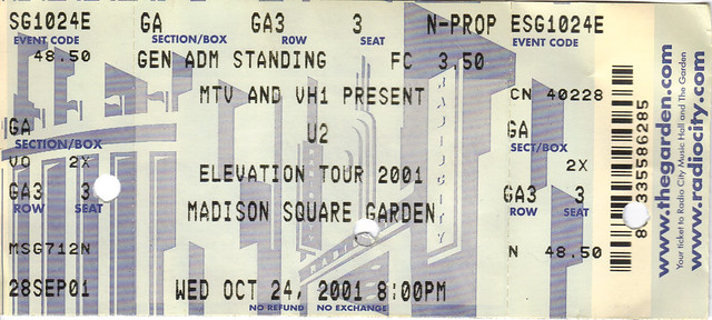 u2 2001 10 24 ticket madison square garden flickr photo
