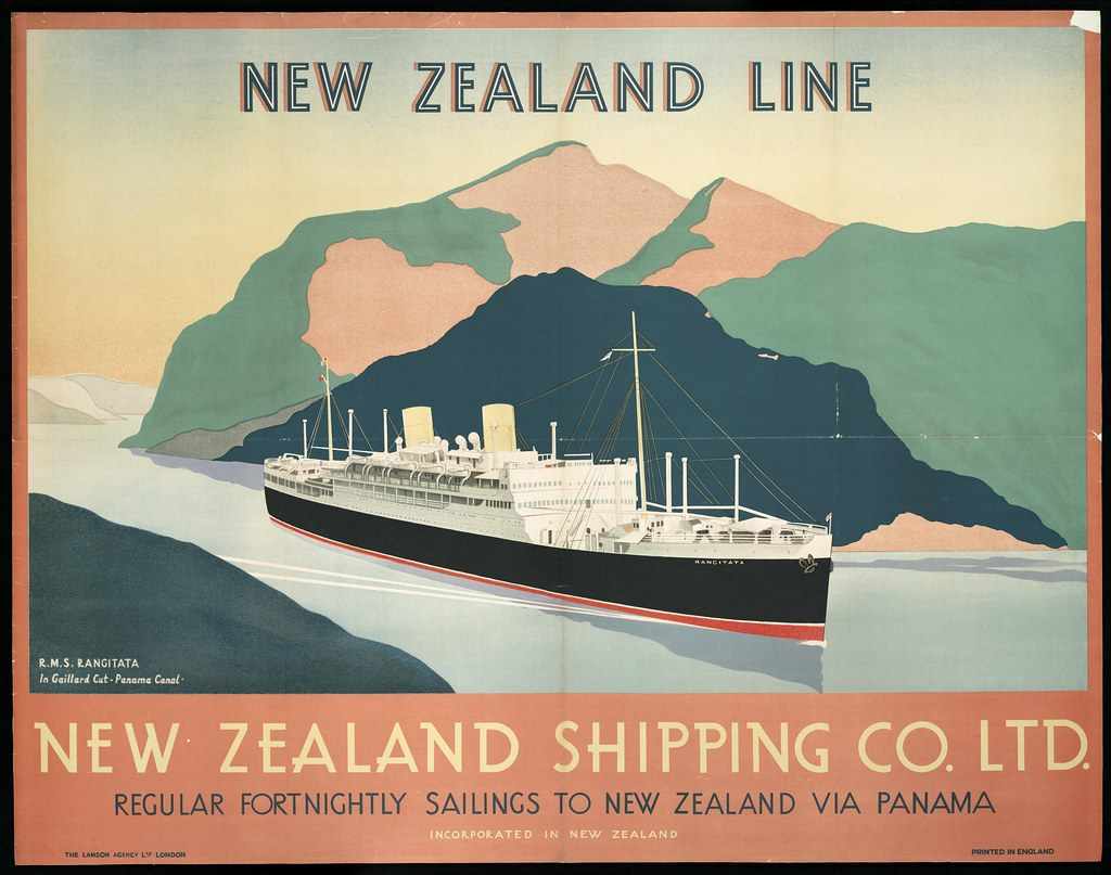 Shipping Poster 1930s New Zealand Shipping Company Ltd