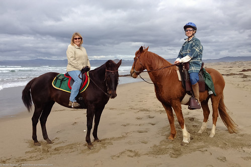 Equestriennes Lynda Roeller, LEFT, on horse Paho with friend Nancy 18 Nov 2011 on the Morro Bay CA Sandspit. | by mikebaird