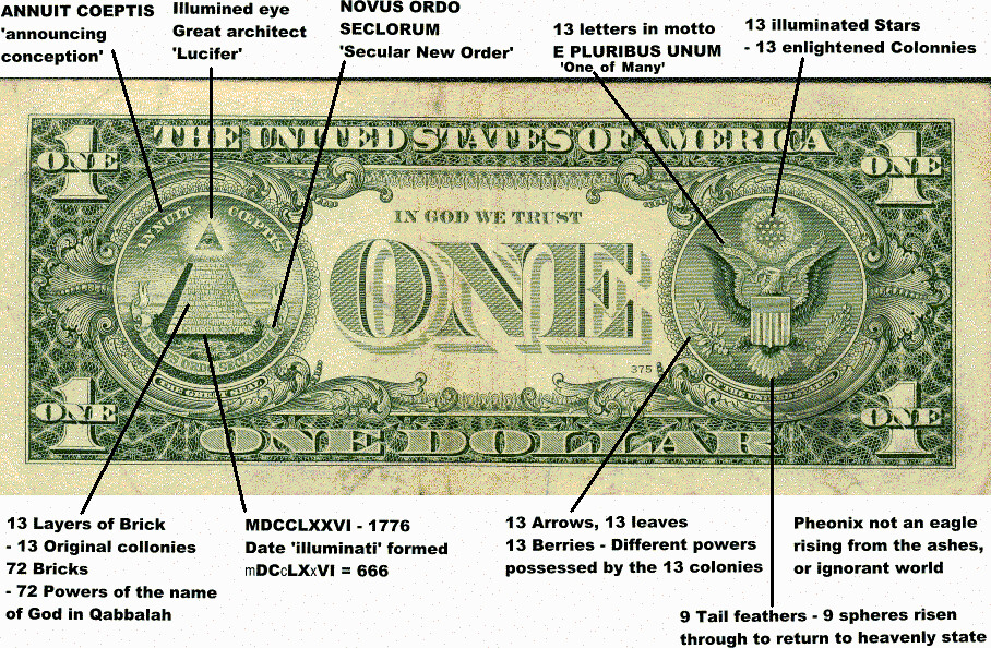 Dollar Bill Symbolism New World Oder Illuminati 1 Dollar Bill Symbols