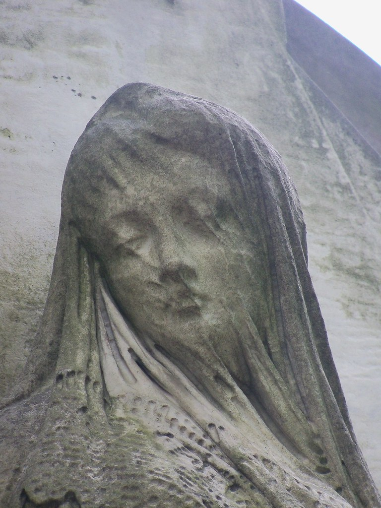 Warsaw Powązki Tomb Sculpture Woman With A Veiled Face