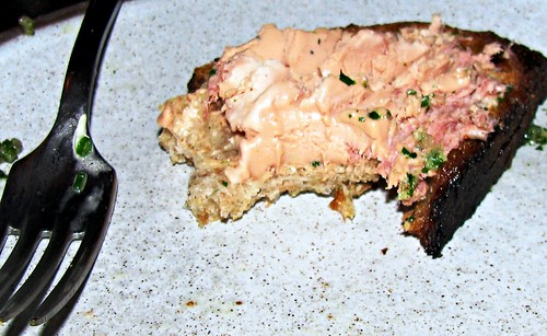 Dinner at NoMad:  toast point topped w/ foie gras torchon w/ tete de cochon | by TheLunchBelle