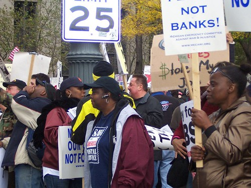 Thousands demonstrated in downtown Detroit on October 14, 2011 against the role of the banks in the economic crisis. Many occupied Grand Circus Park for weeks after the march. (Kris Hamel) | by Pan-African News Wire File Photos