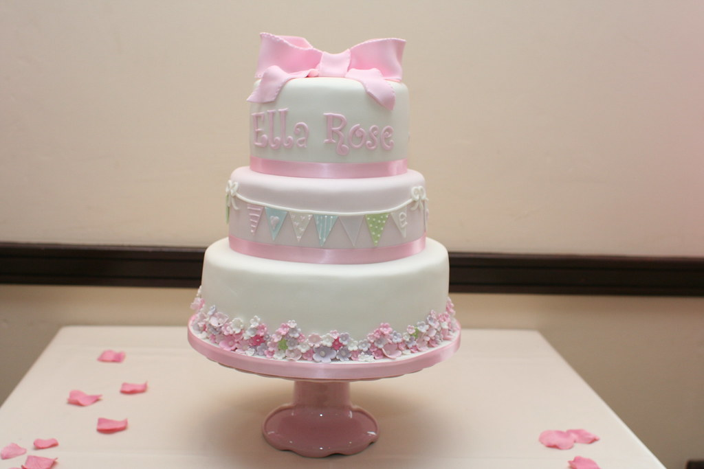 baby girl christening cake all tiers were three layers of flickr