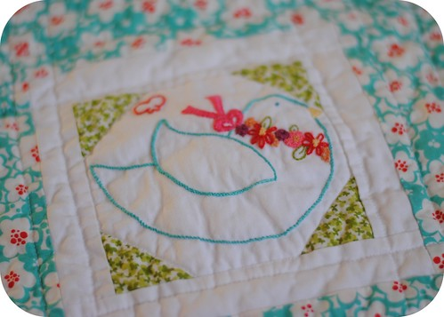 Embroidery 101: Close up of Washed Block | by Clover & Violet