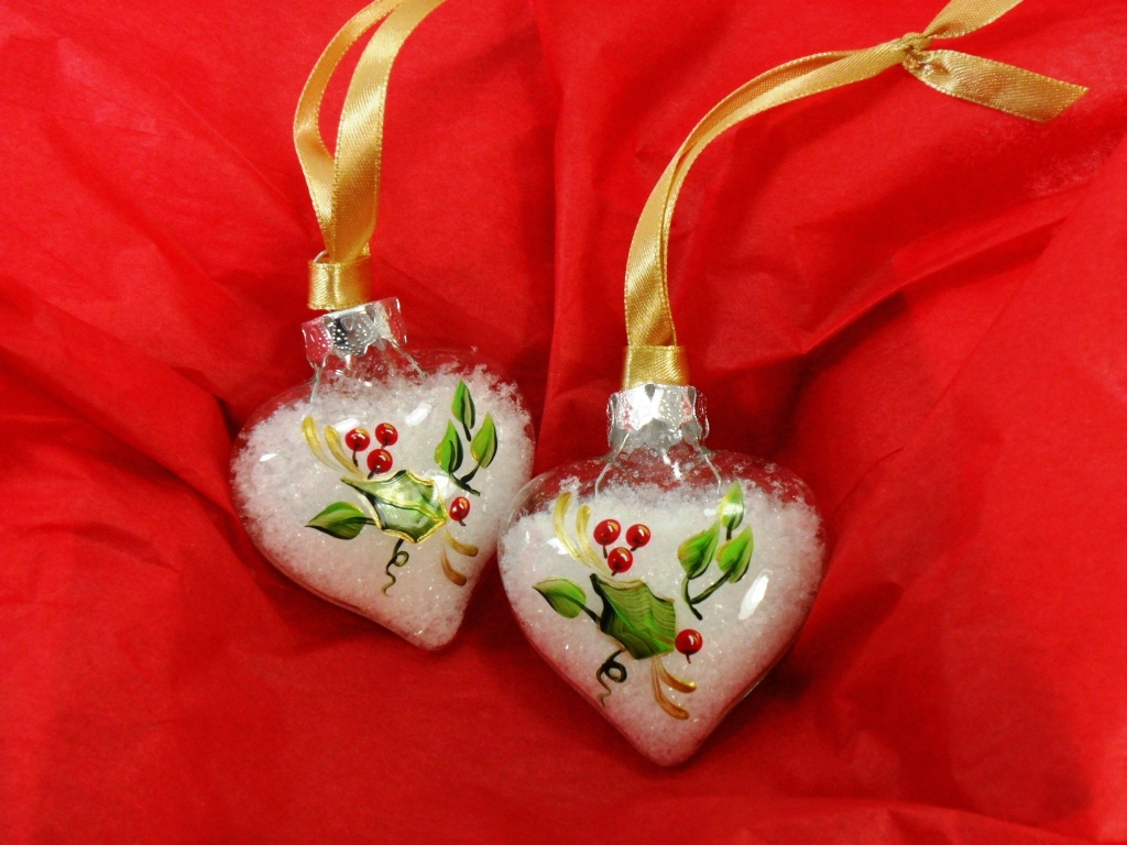 heart christmas ornament hand painted holly clear glass se u2026 flickr
