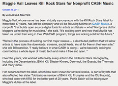 Billboard.biz: Maggie Vail Leaves Kill Rock Stars for Nonprofit CASH Music (10/26/2011)