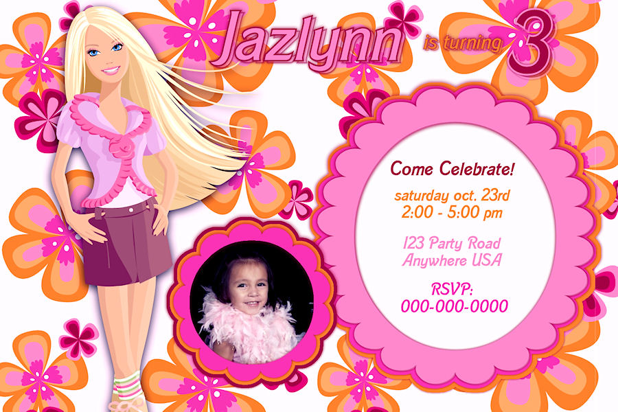 Custom personalized birthday invitation barbie 1 thank you flickr custom personalized birthday invitation barbie 1 by ekwebdesigns filmwisefo