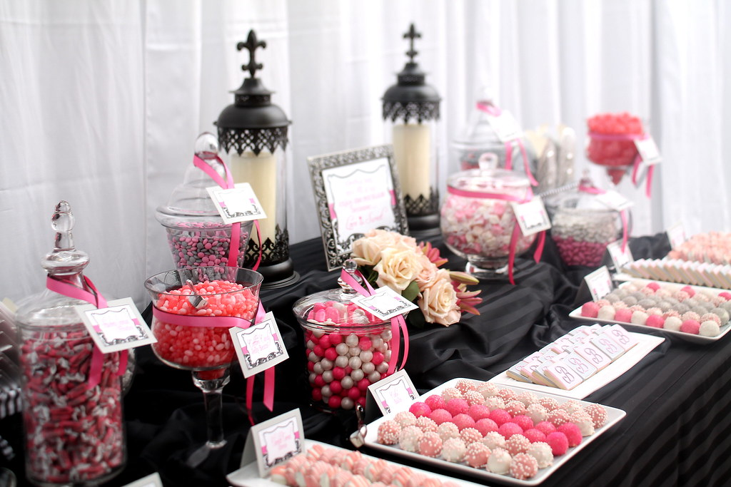Elegant Blackgreypinkwhite Candy Dessert Table Elegant Flickr