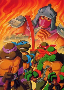 "Family Home Entertainment presents ""Teenage Mutant Ninja Turtles""  - Heroes in a Half Shell  // VHS  { Isolated art ii  }, HI-REZ v.  (( 1988 ))  [[ Courtesy of Michelangelo-sama ]] 