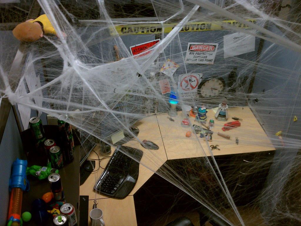 My Halloween Cubicle Lots Of Spider Web Slworking2