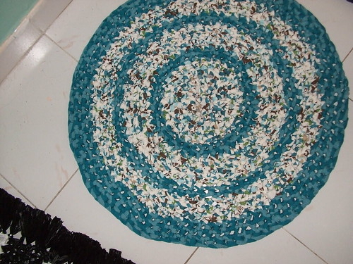 Crocheted rug of T-shirts | by This Dame Cooks
