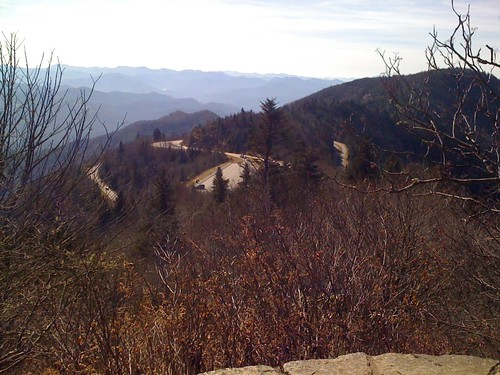 I like this picture of the parking lots and roads. The leftmost road is the Blue Ridge Parkway reaching the crest of this mountain. The middle road is the access road to get to the parking lot. The rightmost road is the Blue Ridge Parkway again descending | by kartoone76