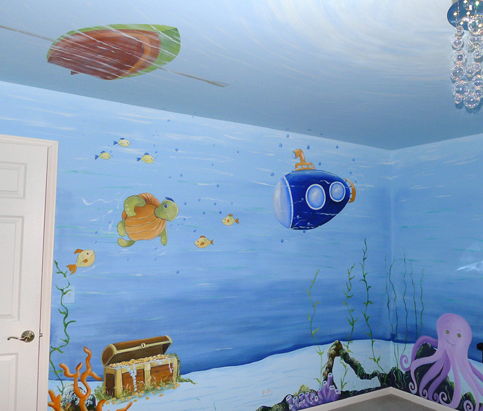 Underwater fish baby nursery mural painted the ceiling for Baby mural wallpaper