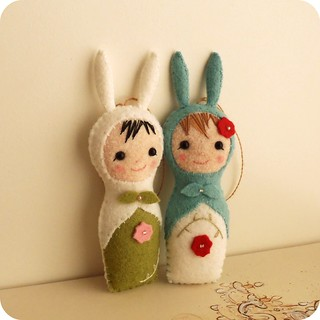 blue and green babushka bunnies | by Gingermelon