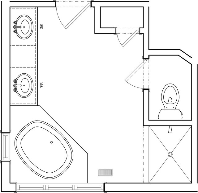 Master bath before floor plan flickr photo sharing for Master bathroom layout dimensions