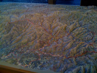 The really cool raised relief map at the Oconfalutee Visitors center. Most of my route is visible in this picture. | by kartoone76