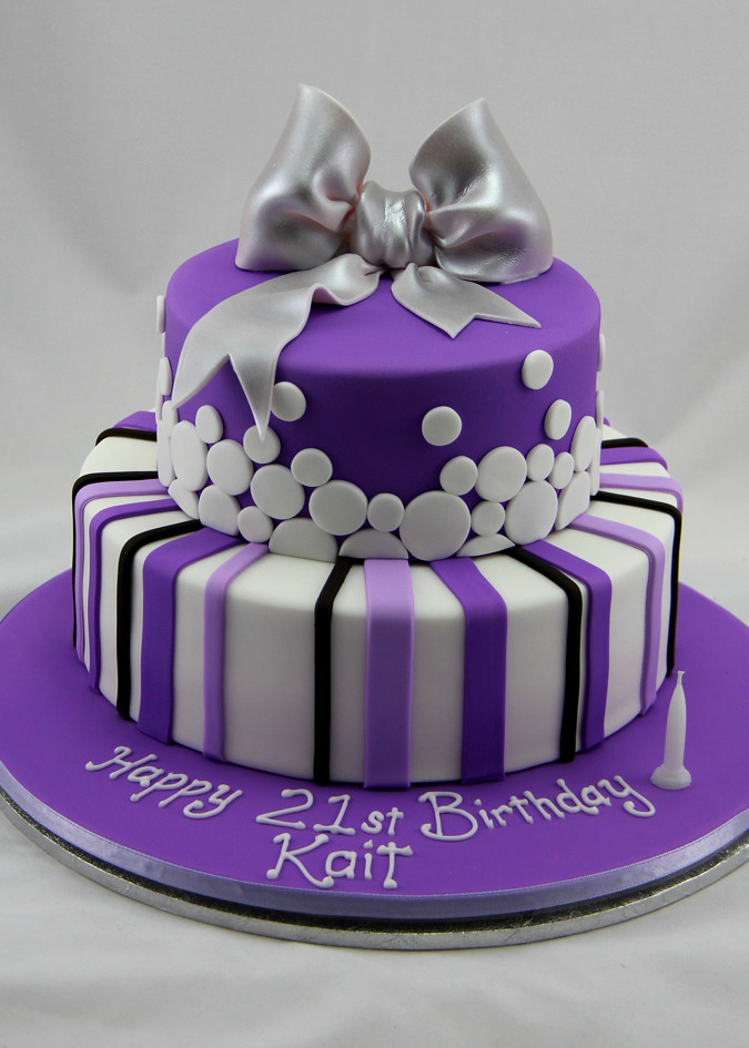 Purple 21st Spots And Stripese Polka Dots On This Cak Flickr
