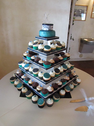 Jade/Peacock Wedding Cupcake Tower | by OurLadyofCupcakes