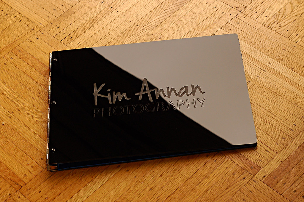 Fashion Book Cover Review ~ Black acrylic portfolio book with custom engraving treatme