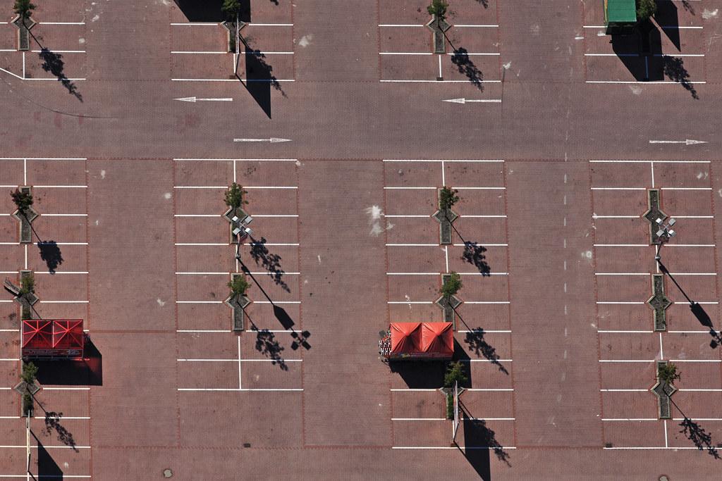 Red Parking Luftbild Vom Parkplatz Am Baumarkt Bauhaus