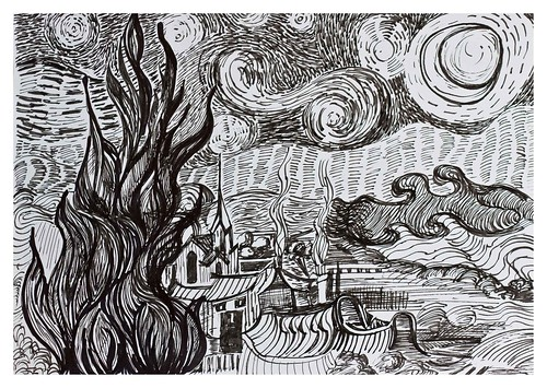Starry Night Over the Rhone - after Van Gogh: a pen and in ...