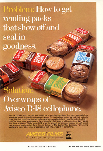 Avisco Film - Burry's Cookies - packaging trade magazine ad - December 1968 | by JasonLiebig