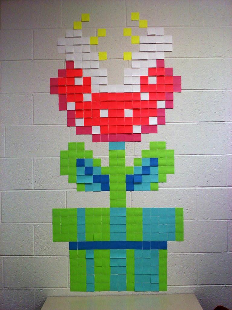 Post It Piranha Plant | The Q*bert Post It art was getting ...