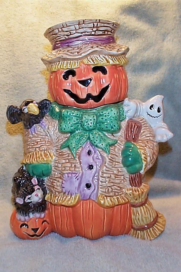 fitz floyd jack o lantern scarecrow halloween cookie jar 1995 by