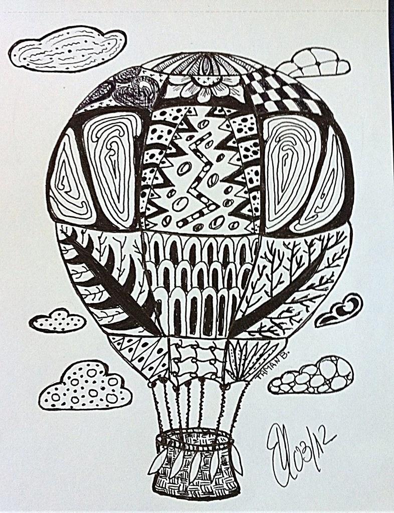 Globo aerosttico  Enredo sobre silueta de dibujo para colo