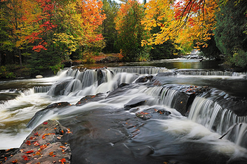 """Leaves on the Stream""  Bond Falls -  Paulding , Michigan 