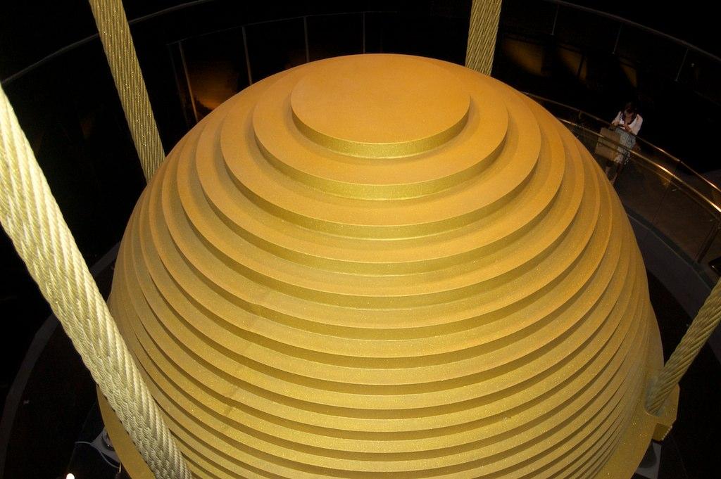 Taipei 101 wind damper this 660 metric ton ball serves for Taipei tower ball