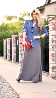 denim-maxi dress- waved hair-LA-red leather pouch bag-hair | by ...love Maegan