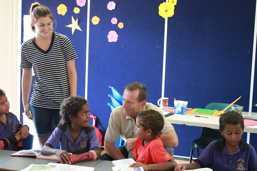 tony with frances abbott visiting the hopevale school  cap