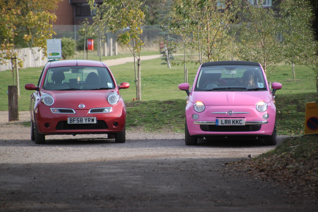 Nissan Micra And Pink Fiat 500 Nissan Micra And Pink