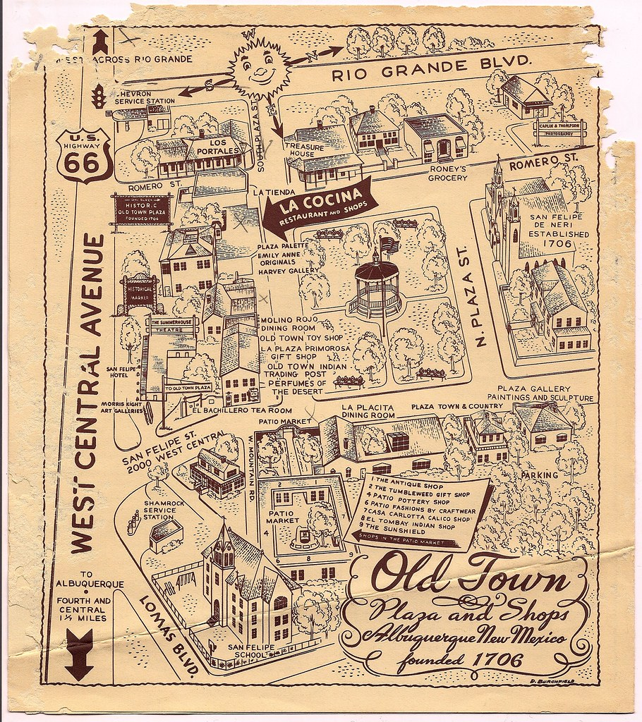 early 1950s Old Town Albuquerque map Filmscore Flickr