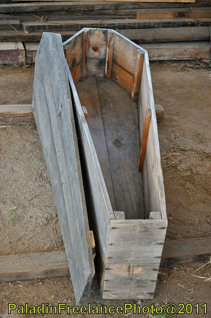 Old Wooden Coffin On Left Open For