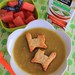 Split Pea Soup with Cat Croutons for Halloween