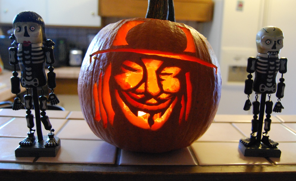 Guy Fawkes mask pumpkin carving | Arnold Chao | Flickr