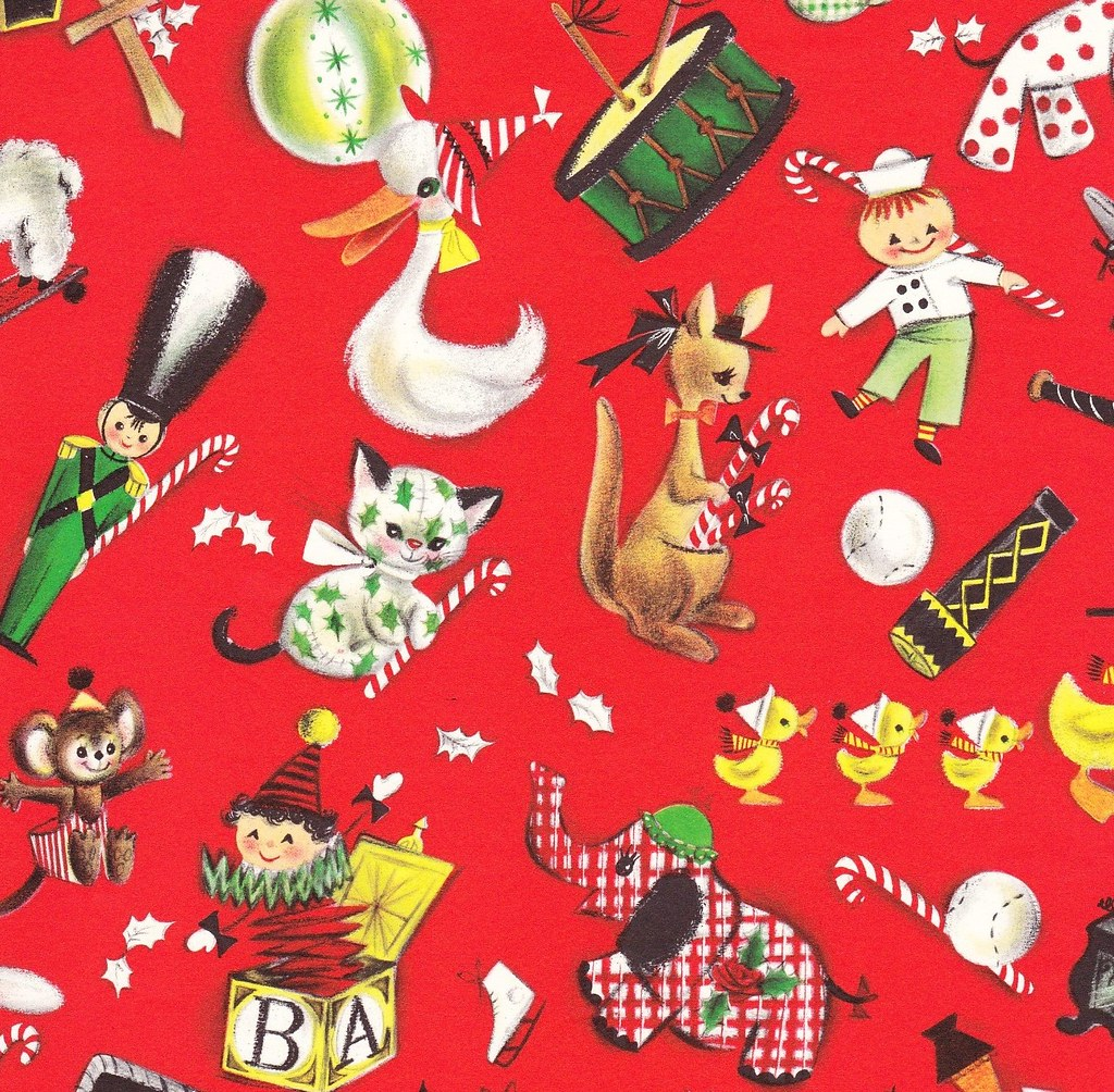 vintage christmas gift wrap ambassador toy parade by hmdavid - Vintage Christmas Wrapping Paper