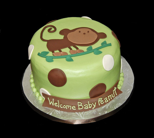 Green and brown baby monkey on a branch baby shower cake flickr - Baby shower monkey theme cakes ...