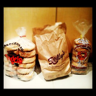 Goods delivered (thanks @foodsters) so #bagelsmackdown is under way! The contenders: | by Tiny Bites