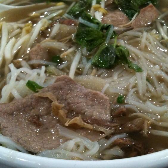 Pho Tai Nam Gau Gan @ Le's Pho | Sliced steak, fat brisket a