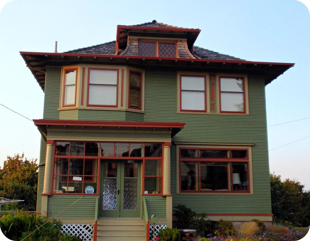 Olive Green Orange American Foursquare House Astoria